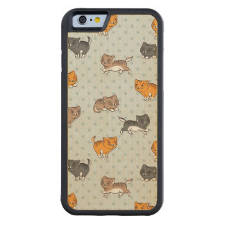 pattern with funny cats carved maple iPhone 6 bumper case