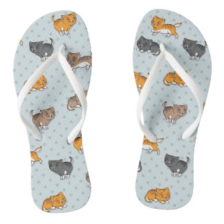 pattern with funny cats flip flops
