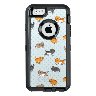 pattern with funny cats OtterBox defender iPhone case