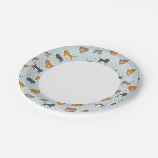 pattern with funny cats paper plate