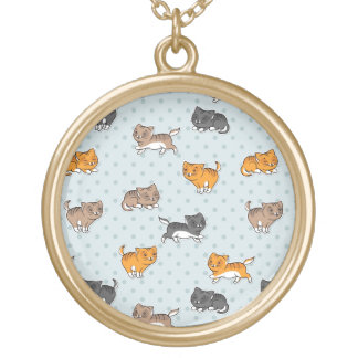 pattern with funny cats round pendant necklace