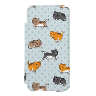 pattern with funny cats wallet case for iPhone SE/5/5s