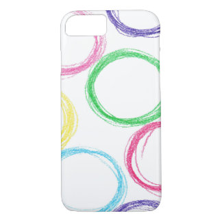 Pattern with hand drawn colored pencil circles iPhone 8/7 case