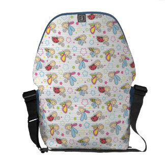 pattern with insects messenger bag