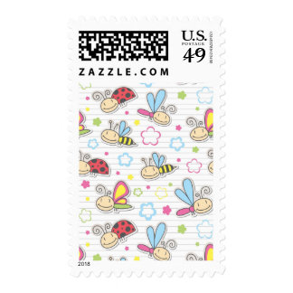 pattern with insects postage