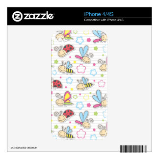 pattern with insects decal for iPhone 4S