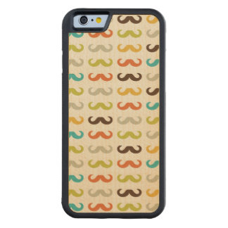 Pattern with mustache carved maple iPhone 6 bumper case