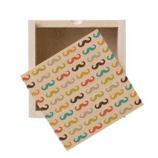 Pattern with mustache wooden keepsake box