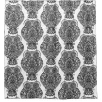 Pattern With Owls Doodle Shower Curtain