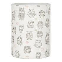 Pattern with owls flameless candle