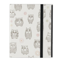 Pattern with owls iPad cover