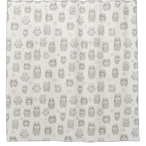 Pattern with owls shower curtain