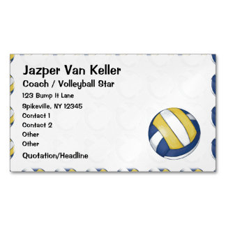 Pattern with Painted Volleyball Magnetic Business Cards (Pack Of 25)