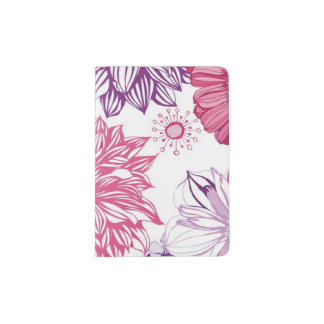 Pattern with pink asters and dahlia passport holder
