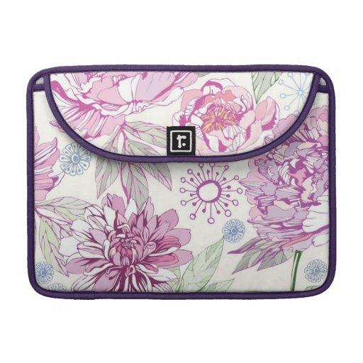 Pattern with pink flowers MacBook pro sleeves
