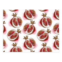 Pattern with pomegranate postcard