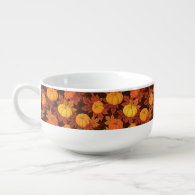 Pattern with pumpkins and autumn maple soup mug