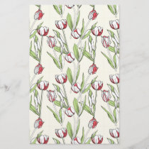 Pattern with red white tulips