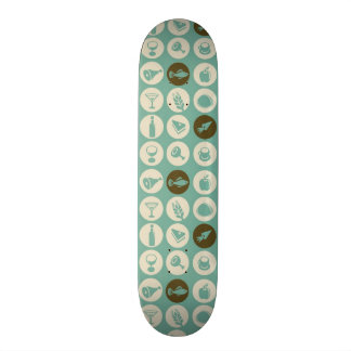 Pattern With Restaurant And Food Icons Skateboard