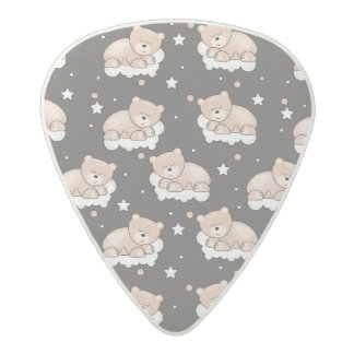 pattern with small bear sleeping acetal guitar pick