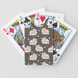 pattern with small bear sleeping bicycle playing cards