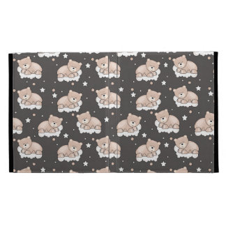 pattern with small bear sleeping iPad folio case
