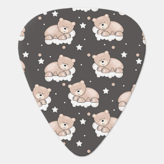 pattern with small bear sleeping guitar pick