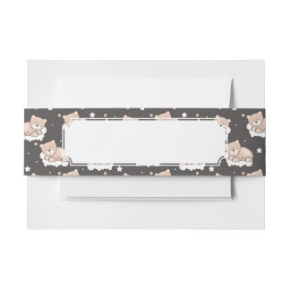 pattern with small bear sleeping invitation belly band