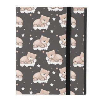 pattern with small bear sleeping iPad cases