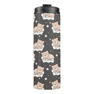 pattern with small bear sleeping thermal tumbler