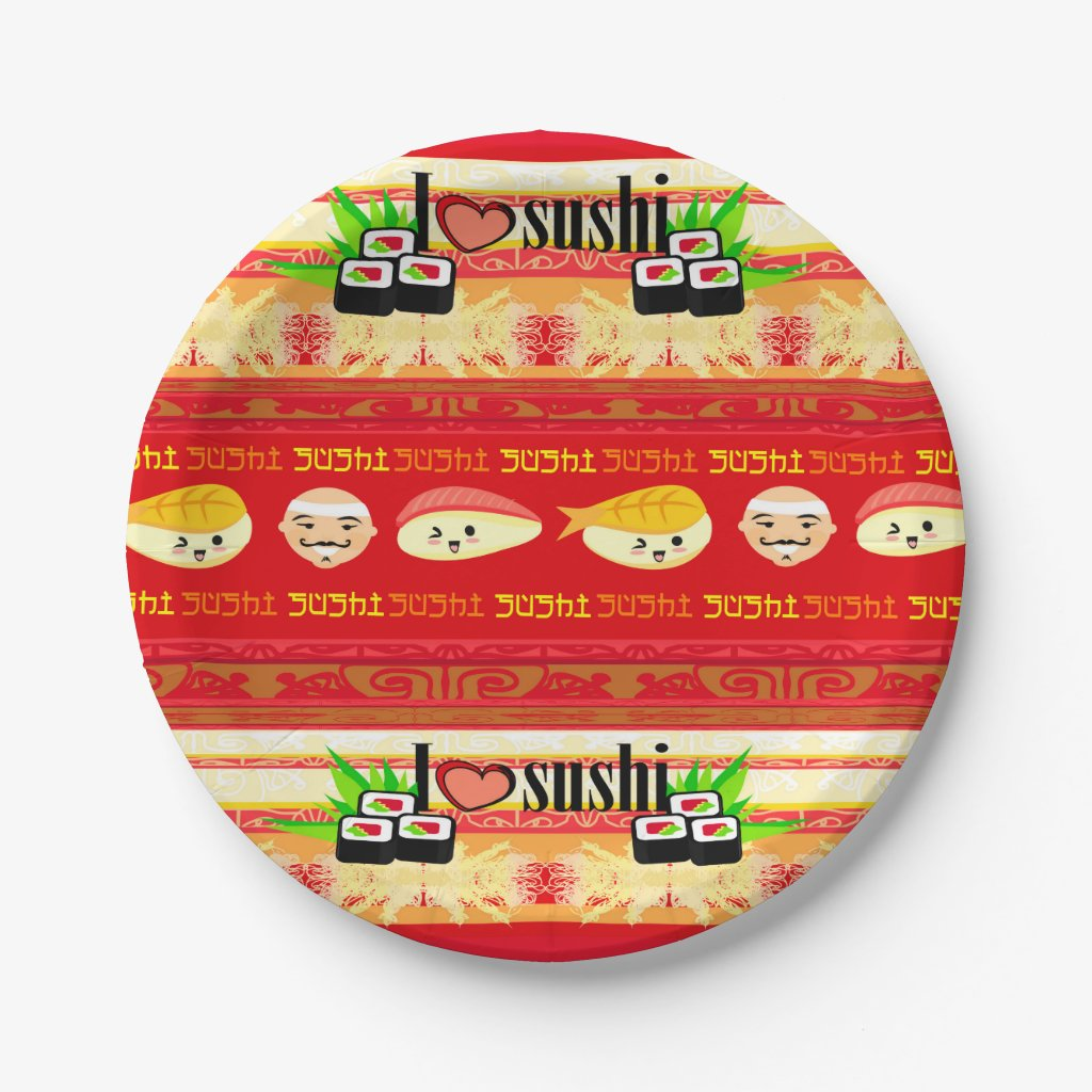 pattern with sushi Paper Plate