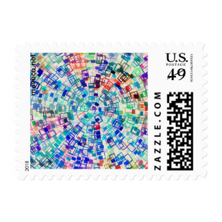PATTERN WITH TILES IN RAINBOW COLORS POSTAGE