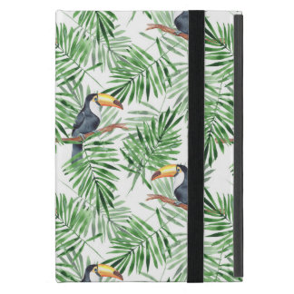 Pattern with toucan and green palm leaves iPad mini cover