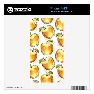 Pattern with yellow apple iPhone 4S skin