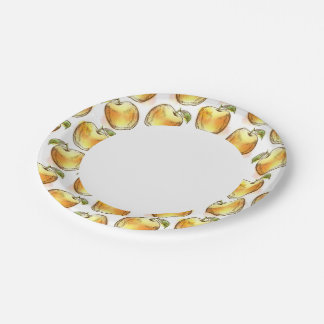 Pattern with yellow apple paper plate