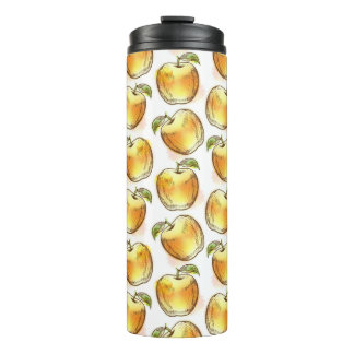 Pattern with yellow apple thermal tumbler