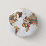 "Pattern World Map Button<br><div class=""desc"">&#169; Laura Marshall / Wild Apple. Bohemian Pattern of the World Map</div>"