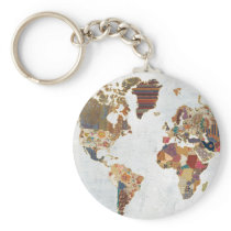 Pattern World Map Keychain