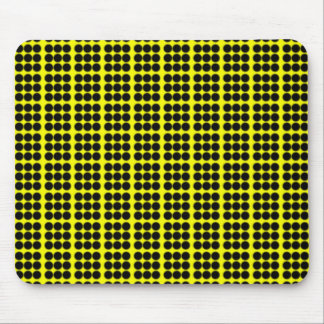 Pattern: Yellow Background with Black Circles Mouse Pad