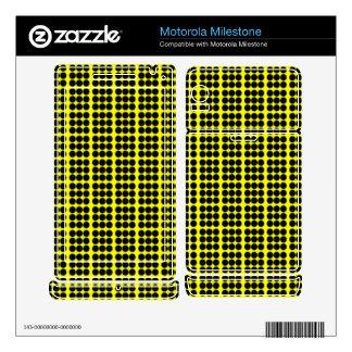 Pattern: Yellow Background with Black Circles Motorola Milestone Skin