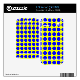 Pattern Yellow Background with Blue Circles Decals For The LG Xenon
