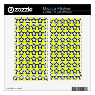 Pattern: Yellow Background with Blue Stars Motorola Milestone Skins
