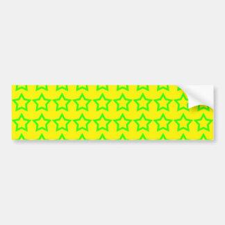 Pattern: Yellow Background with Green Stars Bumper Sticker