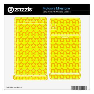 Pattern: Yellow Background with Orange Stars Motorola Milestone Decal