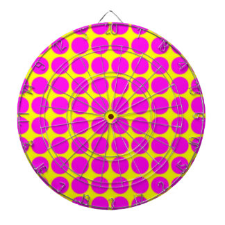 Pattern: Yellow Background with Pink Circles Dart Board