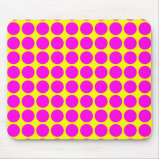 Pattern: Yellow Background with Pink Circles Mouse Pad