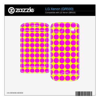 Pattern Yellow Background with Pink Circles Decals For LG Xenon