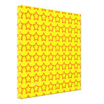 Pattern: Yellow Background with Red Stars Stretched Canvas Prints