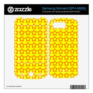 Pattern Yellow Background with Red Stars Decal For Samsung Moment