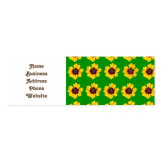 pattern yellow daisy on green background mini business card